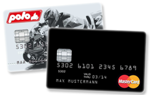 Schwarze Kreditkarte und Polo MasterCard der Valovis Bank