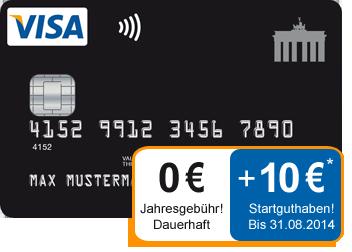 Deutschland-Kreditkarte mit 10 Euro Guthaben