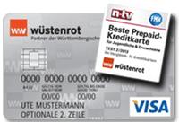 Wüstenrot Prepaid Kreditkarte und Testsiegel